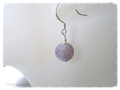 Lilac Purple Frosted Cracked Agate & Sterling Silver Earrings